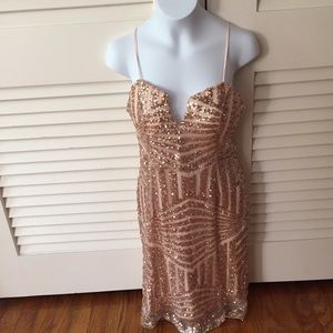 Dresses & Skirts - Rose gold metallic mini dress metallic sequin s